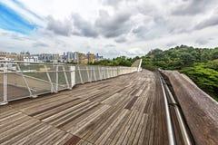 Landscape top view of Singapore Henderson Waves bridge. In Mount Faber rainforest. Henderson Waves is 274m long pedestrian bridge. It connects Mount Faber Park Stock Image