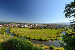 Landscape with Toplita town and Mures river. Stock Photo