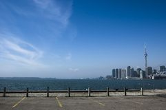 Landscape with toronto skyline. And blue sky on the background royalty free stock images