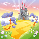 Landscape with tower. Funny cartoon and vector illustration Royalty Free Stock Photography