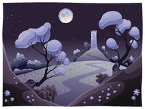 Landscape with tower in the night. Funny cartoon and  illustration Royalty Free Stock Image