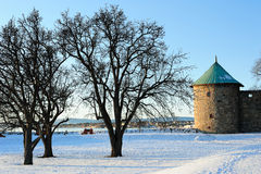 Landscape with the tower of Oslo Fortress Royalty Free Stock Photos