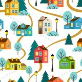 Landscape of town vector seamless pattern Royalty Free Stock Photos