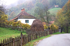 Landscape of a traditional, mountain house in Serbia Stock Photography