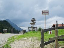Landscape with traffic signs horizontal royalty free stock photography