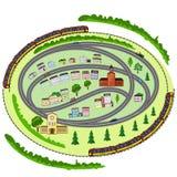 Landscape, trains, cars, houses, trees Stock Photos
