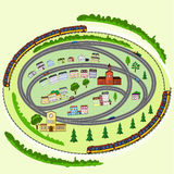 Landscape, trains, cars, houses, trees Royalty Free Stock Photo