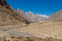 Landscape of Trango tower family, Lobsang spire and river, K2 tr. Ek, Skardu,  Pakistan, Asia Royalty Free Stock Photo