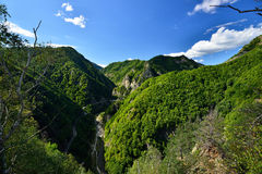 Landscape with Transfagarasan road taken from the Poenari fotress, Arges county,  Romania. Stock Images