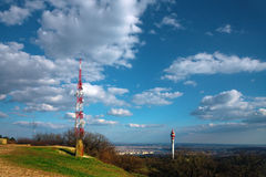 Landscape with transmission tower. Beautiful landscape with transmission tower royalty free stock images