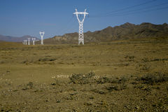 Landscape with transmiting electricity Stock Photo
