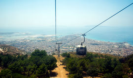 Landscape of Trapani city from the cableway of Erice. Sicily, Italy. Stock Photography