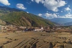 Landscape of Trashi Chhoe Dzong, at capital Thimphu, Bhutan stock photo