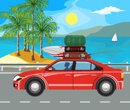 Landscape and travel. Idyllic seascape. The car goes on the road past the island Royalty Free Stock Photography