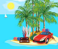 Landscape and travel. Idyllic seascape. The car and luggage on a desert island Stock Photos