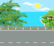 Landscape and travel. Idyllic seascape. Palm trees, road and house with red roof on the island Royalty Free Stock Photo