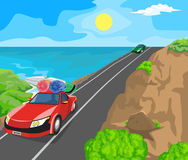 Landscape and travel. Idyllic seascape. The sun, blue sky and cars on the road Royalty Free Stock Photography