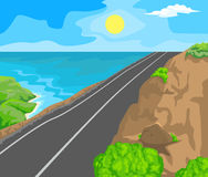 Landscape and travel. Idyllic seascape. The sun, blue sky and a wide road with mountains Stock Images
