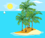 Landscape and travel. Idyllic seascape. The sun, the island and sailing yacht at sea Stock Photography