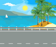 Landscape and travel. Idyllic seascape. The sun, the island and sailing yacht at sea Stock Photos