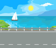 Landscape and travel. Idyllic seascape. The sun, the mountains and sailing yacht at sea Royalty Free Stock Photo