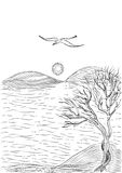 Landscape with tree on a hilly sea shore and flying seagull. Monochrome freehand ink drawn sketch in art doodle style pen Stock Images