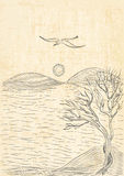 Landscape with tree on a hilly sea shore and flying seagull. Monochrome freehand ink drawn sketch in art doodle style pen with canvas background Stock Photography