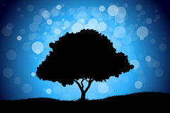 Landscape with Tree. Majestic landscape with tree and grass on blue sky Royalty Free Stock Images