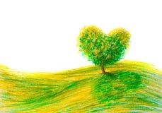 Landscape tree shape heart Royalty Free Stock Photo