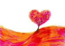 Landscape tree shape heart Stock Images