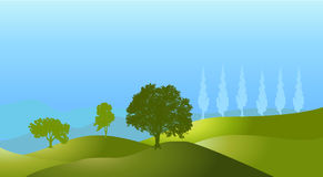 Landscape tree silhouette hills vector background Stock Photo