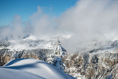 Landscape with a tree and Super Morzine in backgroung Stock Photography