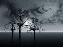Landscape with trees. 3 d graphics night fantasy landscape with  trees and cloudy dark skies Stock Image