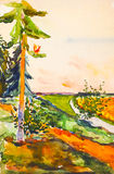 Landscape with trees, field and river. Watercolor painting. Stock Photography