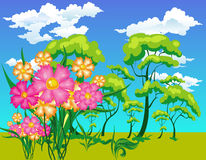 Landscape with trees and flowe Stock Photography