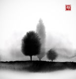 Landscape with trees in fog hand drawn with ink in asian style. Misty meadow. Traditional oriental ink painting sumi-e Stock Images