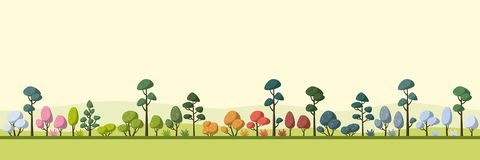 Landscape With Trees, Four Seasons. Landscape with some trees, four seasons, panorama vector illustration