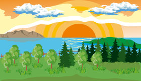 Landscape with Trees, Lake and Sun Royalty Free Stock Image