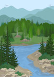 Landscape with Trees and Mountain River Stock Photos
