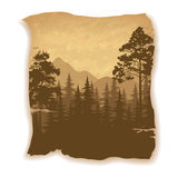 Landscape, Trees and Mountains royalty free illustration