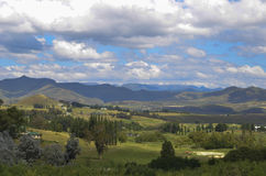 Landscape of trees near Clarens. Landscape of trees, mountains and clouds near Clarens Stock Photo