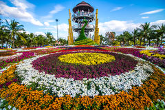 Colorful flower garden. Trees are planted with care and attention. Make it beautiful and blind Royalty Free Stock Image