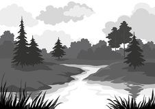 Landscape, trees and river silhouette Royalty Free Stock Images