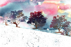 Landscape trees snow Stock Images