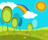 Landscape with trees and sun. Landscape with trees, rainbow and sun Royalty Free Stock Images