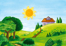 Landscape with trees, sun and a house on a hill. Stock Photo