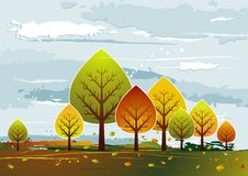 Landscape with  trees, vector Stock Images