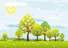 Landscape with trees, vector royalty free stock image