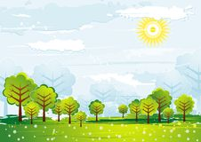 Landscape with  trees, vector Royalty Free Stock Images