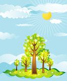 Landscape with trees, vector stock image